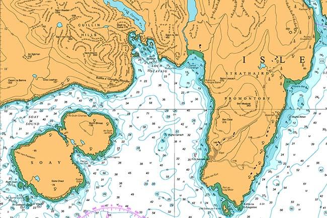 Морская карта залива Лох Скавейг на острове Скай